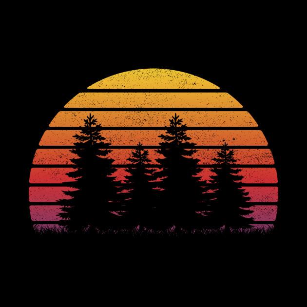 Minimalist Pine Tree: Retro Sun Minimalist Pine Tree Design T-Shirt