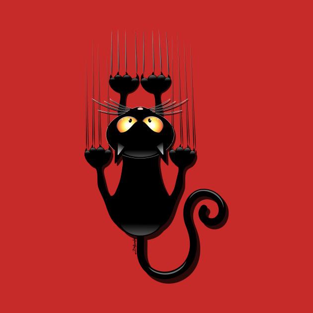 Black Cat Cartoon Scratching Wall