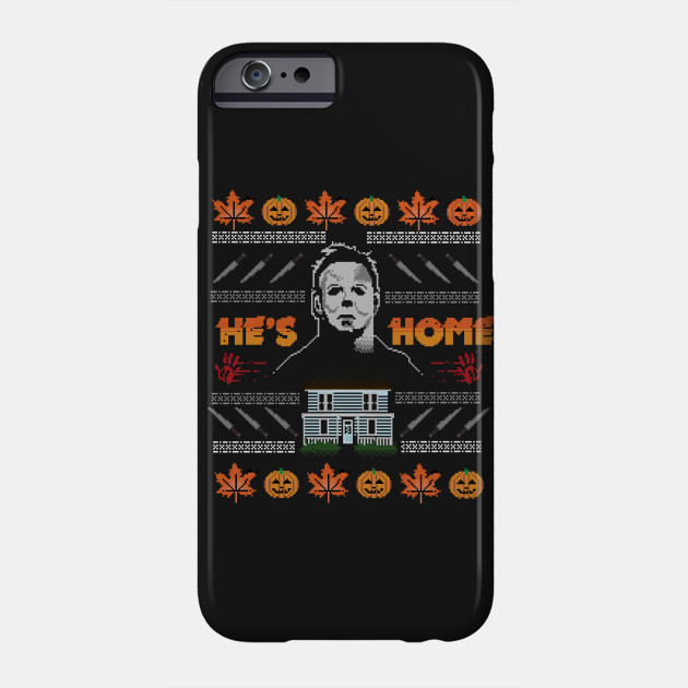 Hes Home Christmas Sweater Michael Myers Phone Case Teepublic