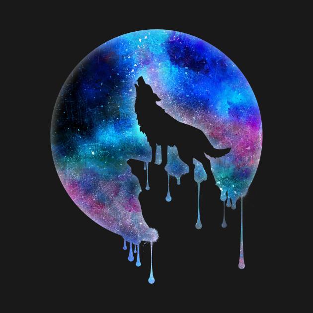 Howling Wolf - Full Moon - watercolour - Art - Trend - Splatter- Gift - Universe - Space - Galaxy