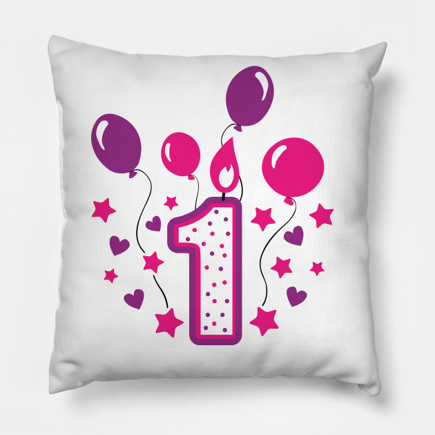 First Birthday 1st 1Girl Daughter Niece Balloons Cute Sweet One Year Old Mug Sticker Pillow Gifts Ideas