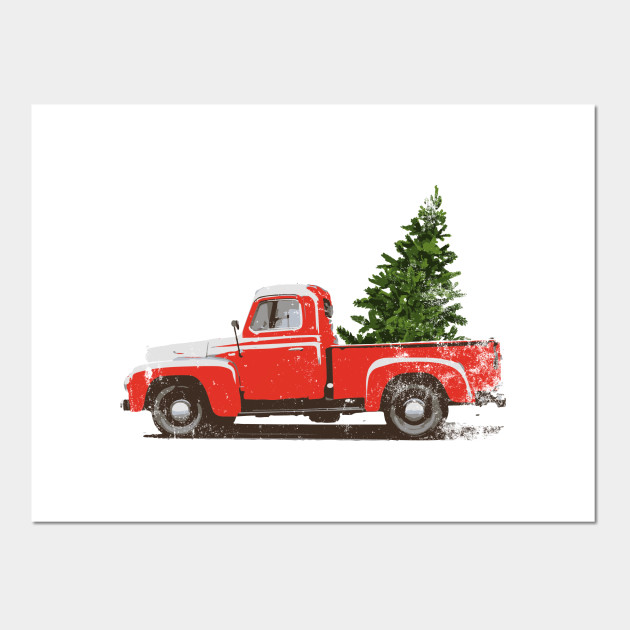 Old Truck With Christmas Tree.Vintage Pickup Truck Christmas Tree