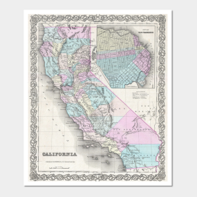 California Map Posters And Art Prints Teepublic