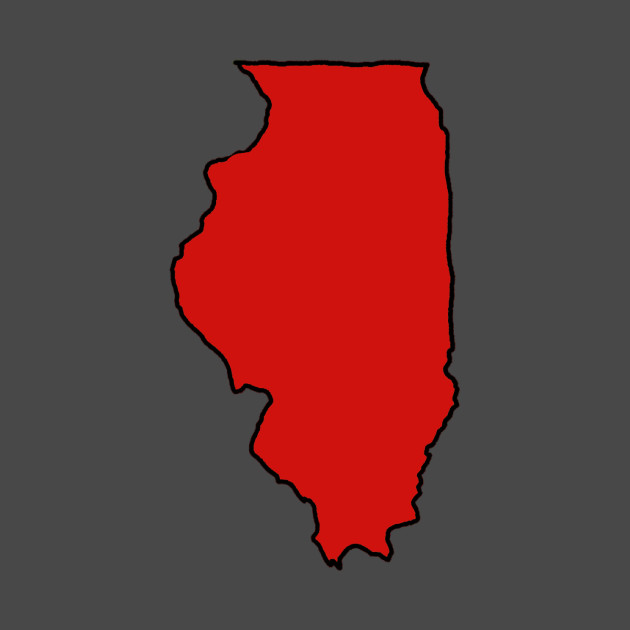 Illinois - Red Outline