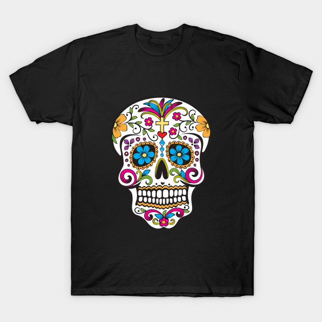 colorful mexican skull skulls t shirt teepublic