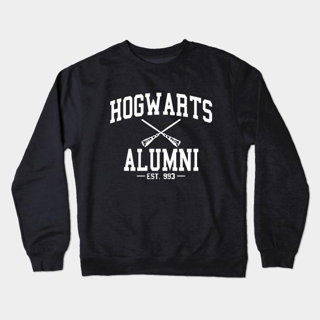 hogwarts alumni white harry potter crewneck sweatshirt teepublic