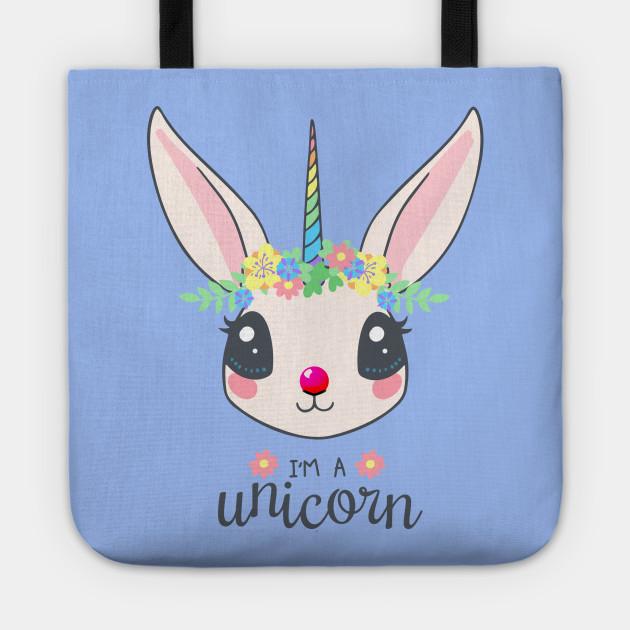 I/'m Just A Bunnycorn Regular Tote Bag Bunny Unicorn Rabbit Funny Shoulder Animal