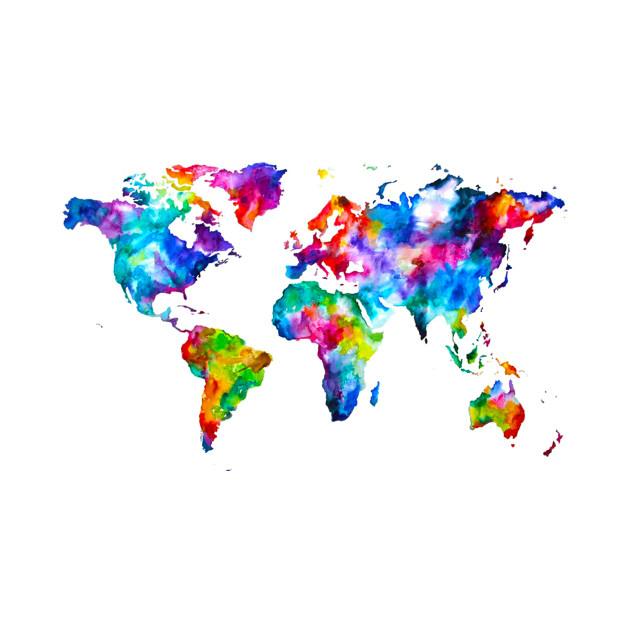 World Map Graphic Abstract Paint Splatter - World Map - T-Shirt ...
