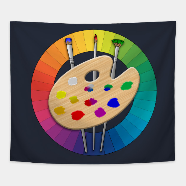 Color Wheel Artist Paint Palette And Brushes