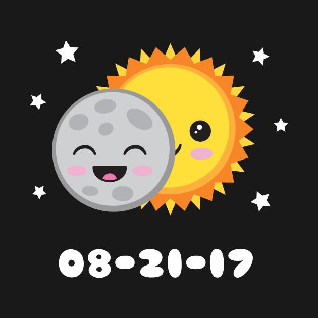 2017 Solar Eclipse Cute Kawaii Sun & Moon Cartoon