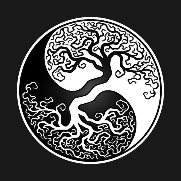 White And Black Tree Of Life Yin Yang