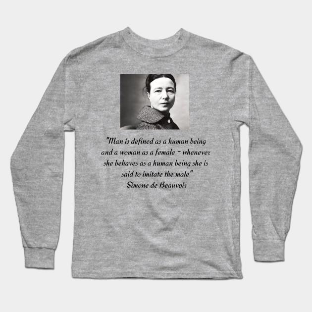 370ec5c3 Simone de Beauvoir quote- Ladies' short sleeve t-shirt - Feminists ...