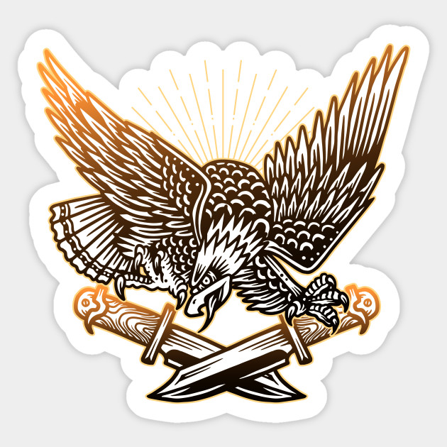 Bald Eagle With Knives Vintage Tattoo Flash American Traditional