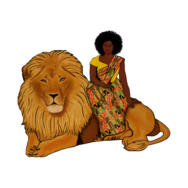 Proud African Afro Woman with Lion and Kente Pattern