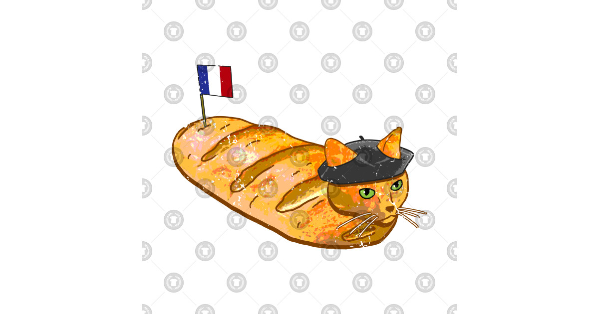 French Bread Cat Loaf - Cats - T-Shirt | TeePublic  |Cat French Bread
