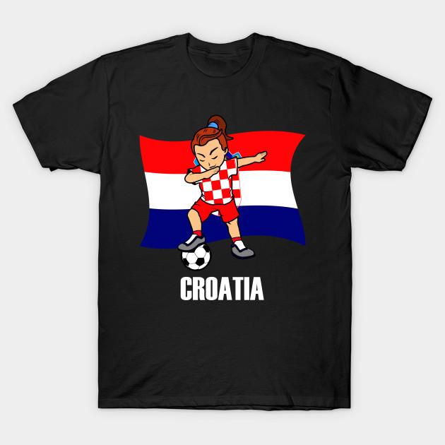 0199c4737aa Dabbing Soccer Girl Croatia Soccer Jersey Croatian Flag - Dabbing ...