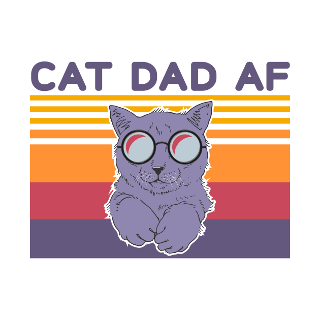 Cat Dad Af Glasses Vintage
