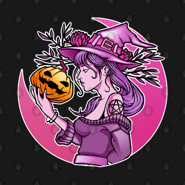 Cute Halloween Witch With Pumpkin and the Moon