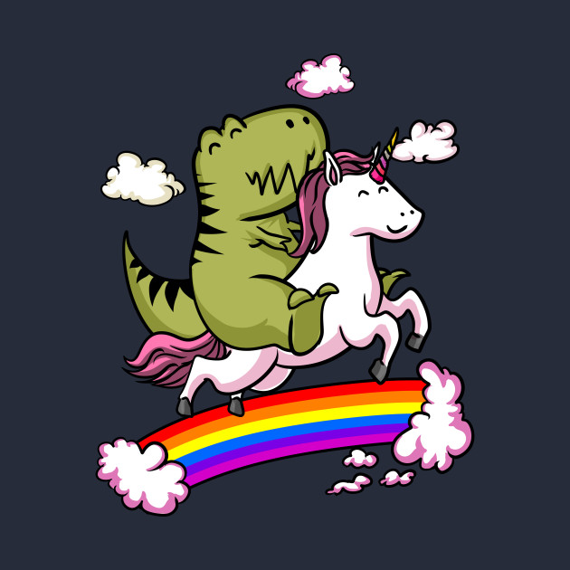 T Rex Dinosaur Riding Cartoon Unicorn Fantasy Rainbow