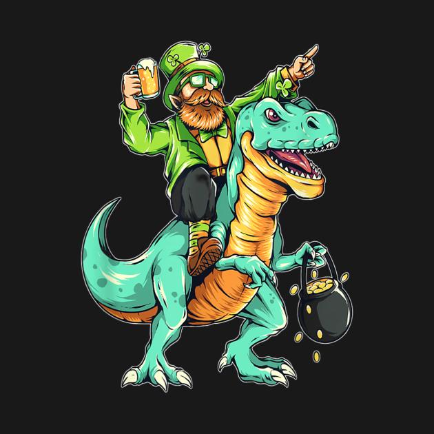 Leprechaun riding a dinosaur St. Patrick's Day