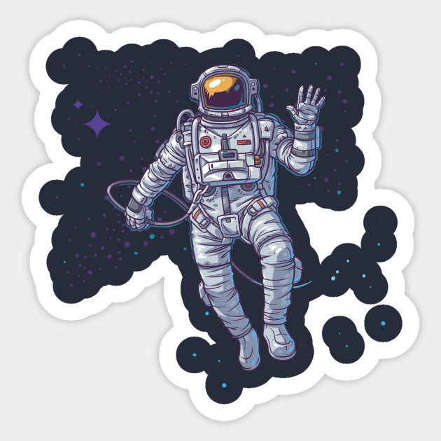 Waving Astronaut in Outerspace - Astronaut - Sticker ...