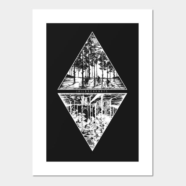 Black /& Grey Eleven Stranger Things The Upside Down 100/% Cotton Wall Art Print