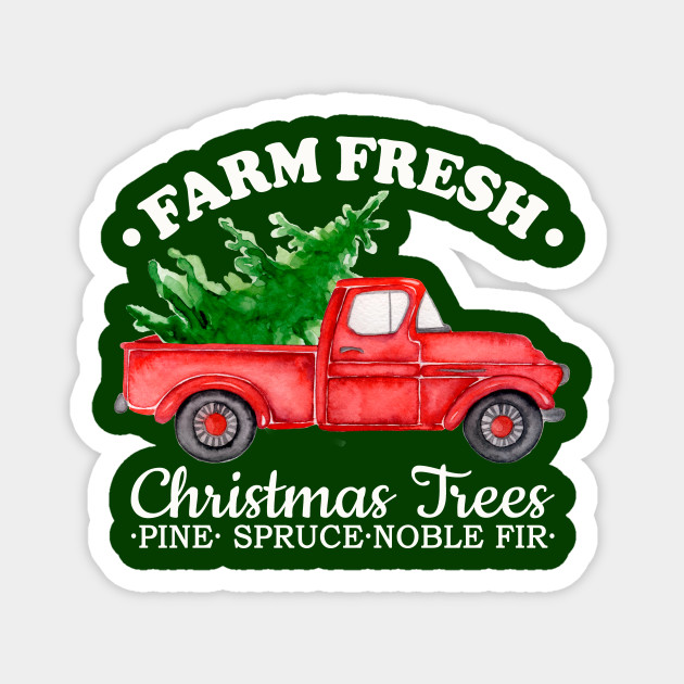 Old Red Truck With Christmas Tree In Back.Farm Fresh Christmas Trees Watercolor Vintage Red Truck Xmas Gift