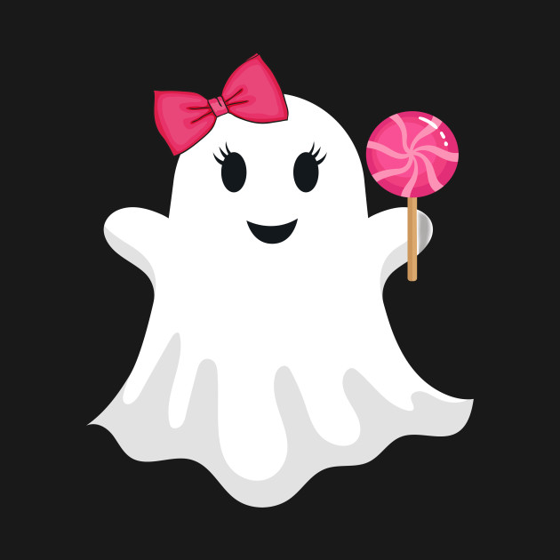 Cute Halloween Ghost Girl Lollipop Candy T-Shirt For Girls