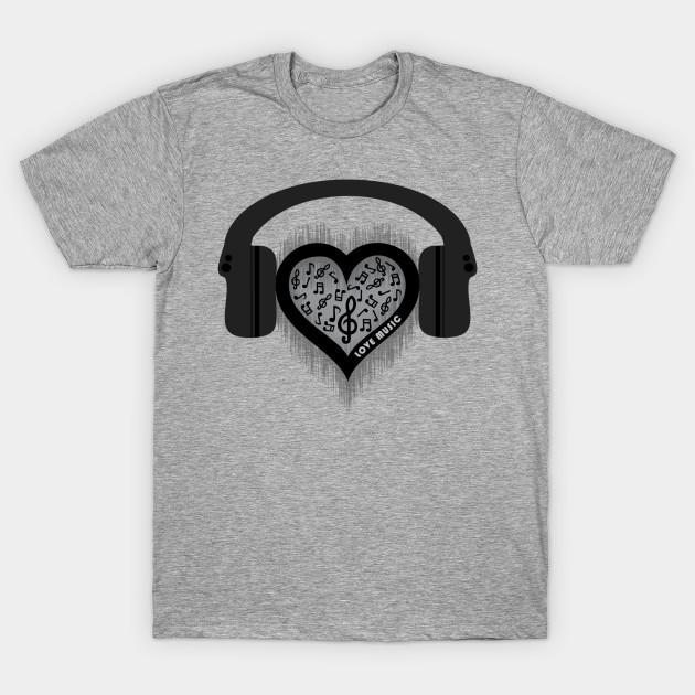 719d06fcdd Love Music rhythm heart beat - Female - T-Shirt | TeePublic