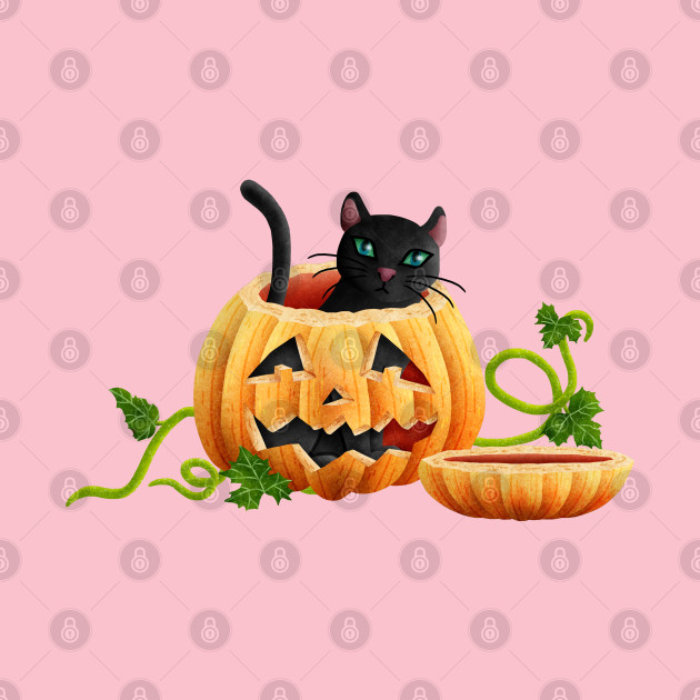 Cat sitting in a Halloween pumpkin