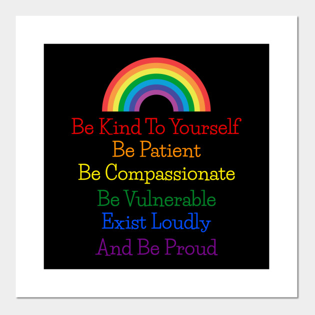 Be Kind To Yourself Rainbow Quote Print