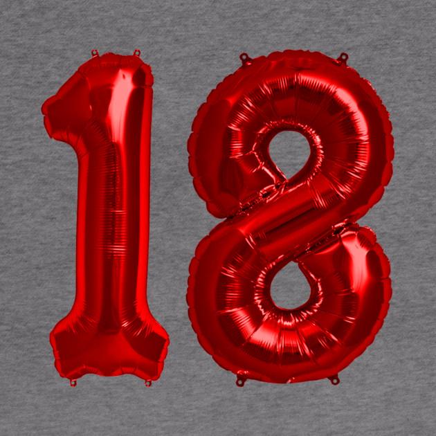 Bright Red 18th Birthday Metallic Helium Balloons Numbers