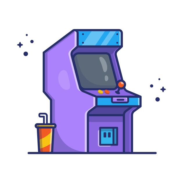 Arcade Machine With Soda Cartoon