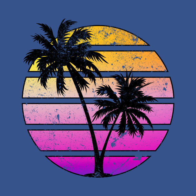 Distressed Style Synthwave Sunset design