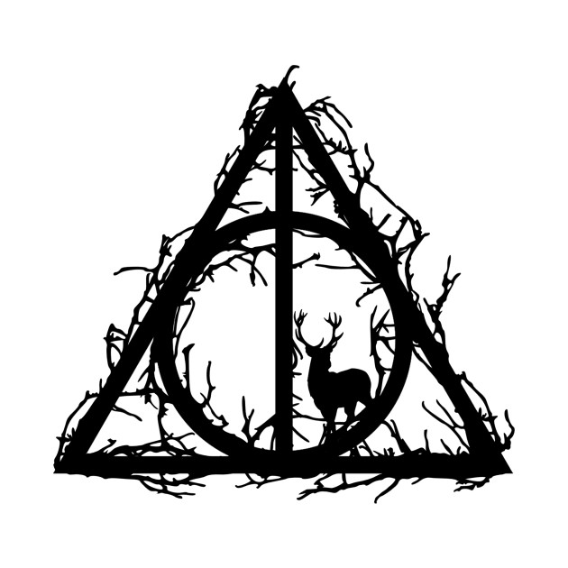 51d61a85bc64d ... Harry Potter - Deathly hallows - Prongs in the forbidden forest  (branches only black version