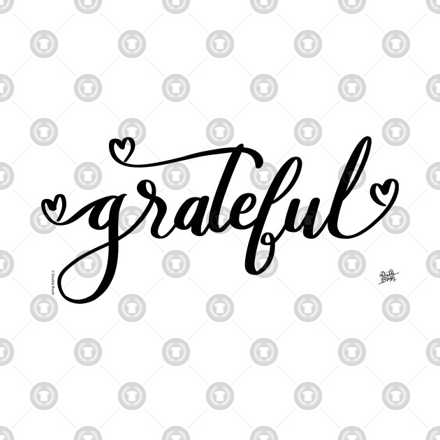 Grateful Word Art Hand Lettering With Hearts