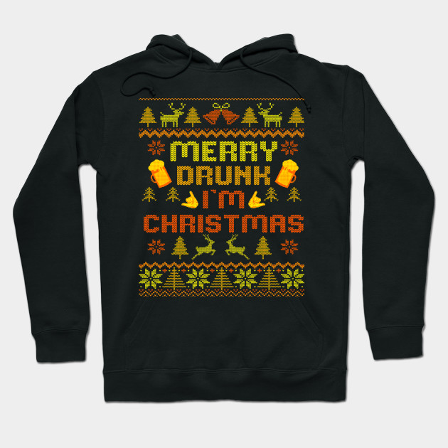 Merry Drunk Ugly Christmas Sweater christmas Hoodie