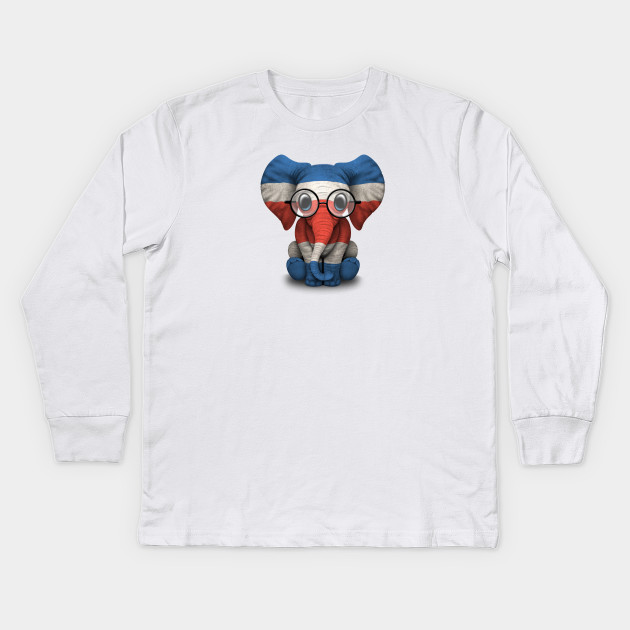 3707161366e58 Baby Elephant with Glasses and Costa Rican Flag Kids Long Sleeve T-Shirt