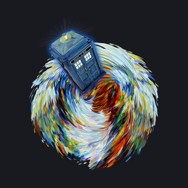 Blue Phone booth jump into time Vortex