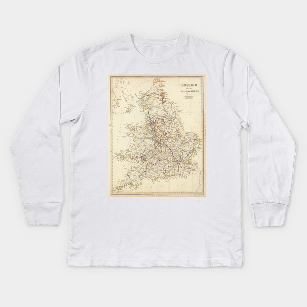 Kids Map Of England.Vintage Map Of England 1837