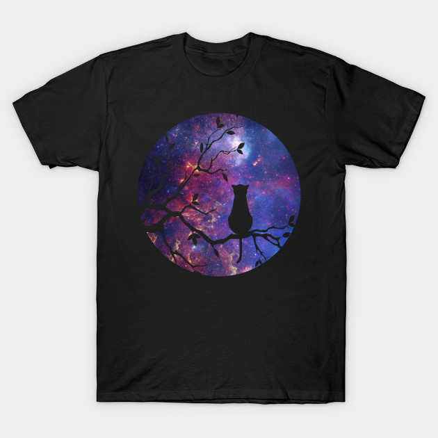 The cat and the moon - Cat - T-Shirt | TeePublic