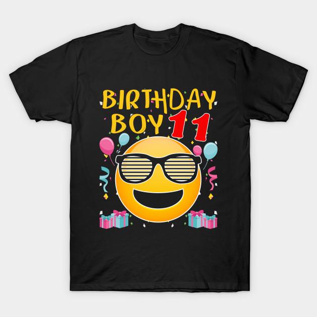 Kids Emoji 11th Birthday Boy T Shirt Fun 11 Years Old Gift