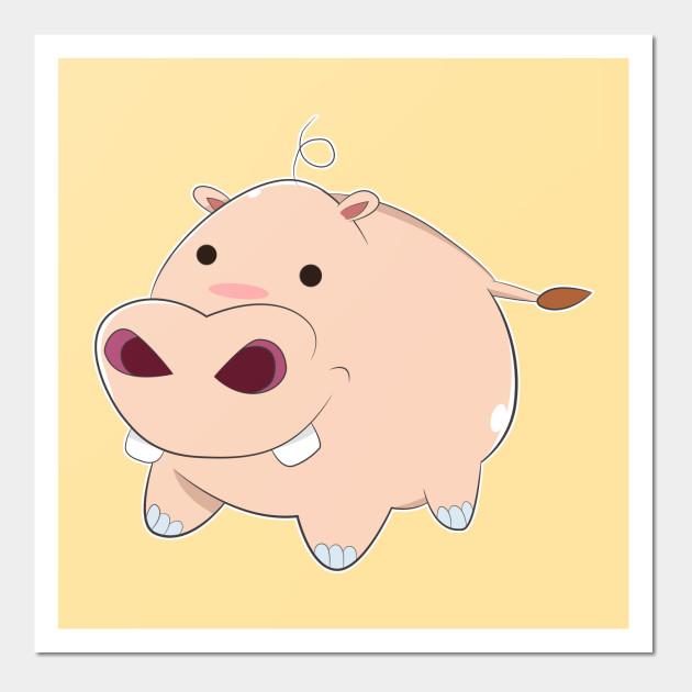 Happy Cartoon Baby Hippo - Pig - Wall Art   TeePublic