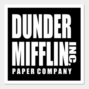graphic relating to Dunder Mifflin Name Tag Printable named Dunder Mifflin Paper Enterprise Posters and Artwork Prints TeePublic