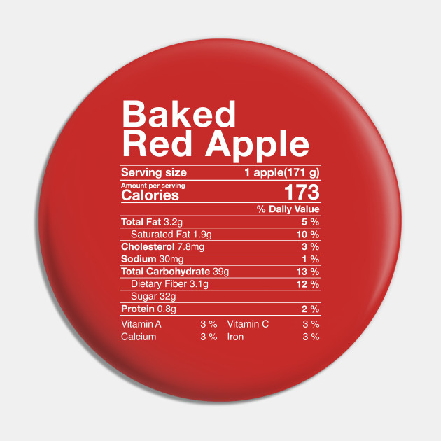 Red Baked Apples Nutritional Facts Thanksgiving Turkey Day Nutritional Facts Pin Teepublic