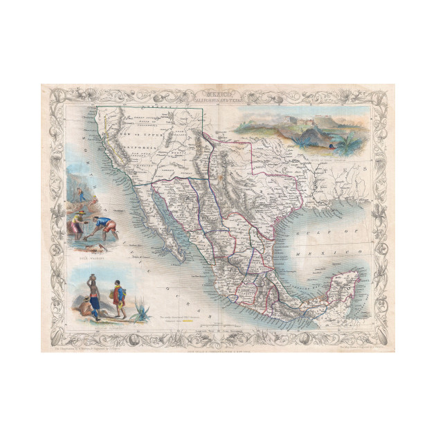 vintage map of mexico 1851 mexico map t shirt teepublic