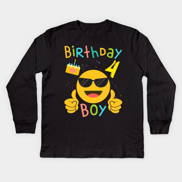 Kids Emoji 4th Birthday Boy T Shirt Fun 4 Years Old Gift Long Sleeve