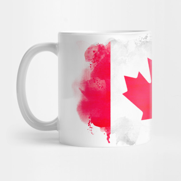 Canadian watercolor painting flag