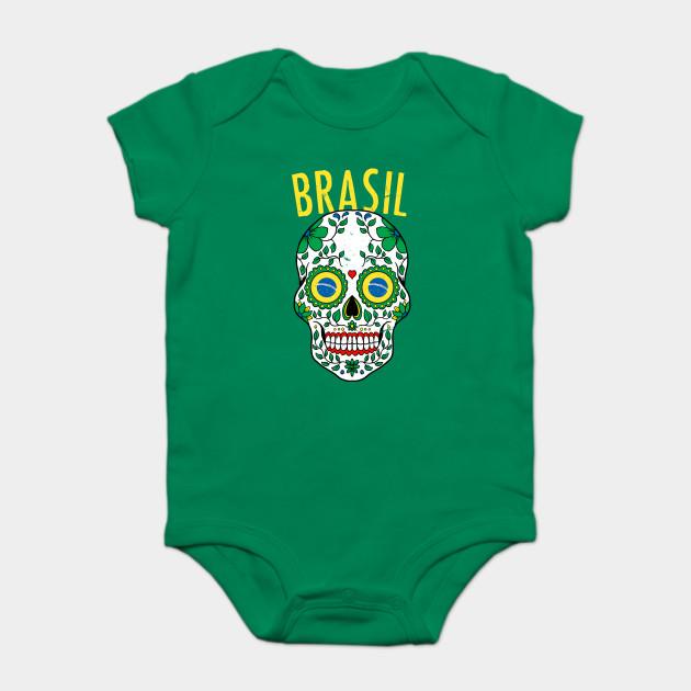 3f17fbec9b65 Calavera Brazil World Cup Team Flag Soccer Jersey Brasil 2018 Onesie