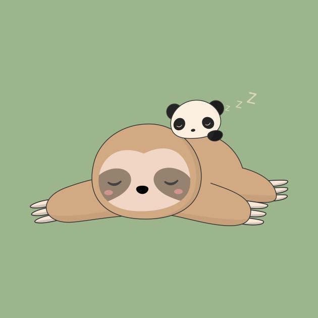 Kawaii Lazy Sloth And Panda T-Shirt